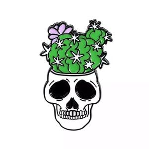 4/$20 Floral Cactus Potted Skeleton Skull Pin